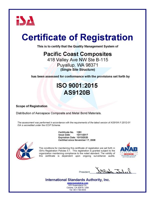 Quality-ISO Certification - Pacific Coast Composites